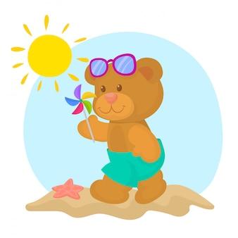 Teddybär am strand