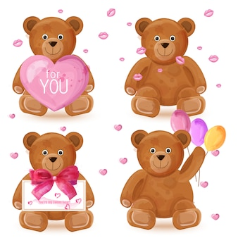 Teddybär-aquarellsatz