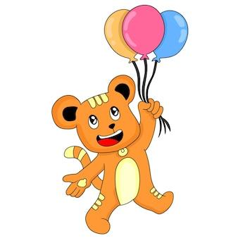 Teddybär, der mit ballons fliegt. karikaturillustrationsaufkleber
