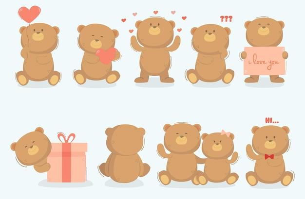 Teddybär in verschiedenen posen illustration