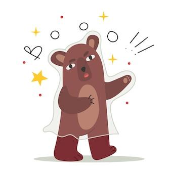 Teddybär macht jedem in einem halloween-geisterkostüm angst. einfache illustration. illustration für kinderbuch. nettes plakat.
