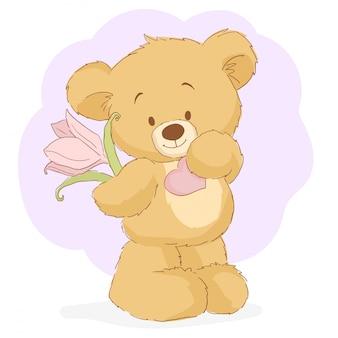Teddybär mit blumen- und papierherz