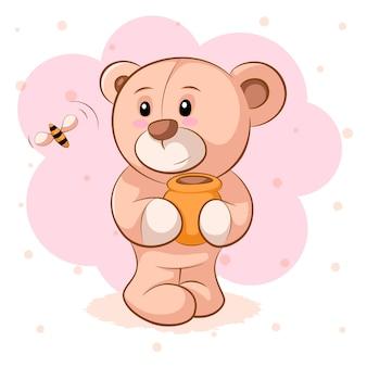 Teddybär mit einem fass honig für druckt-shirt