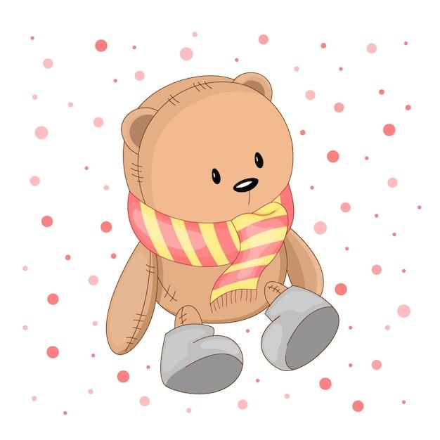 Teddybär mit gestreiftem schal und grauen stiefeln.