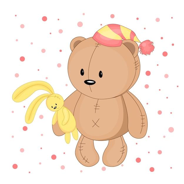 Teddybär mit gestreifter mütze und hasen in den händen.