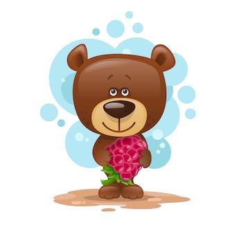 Teddybär mit himbeeren. kindische illustration.