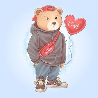 Teddybär teddy trägt liebesherzballon mit pullover und jogginghose