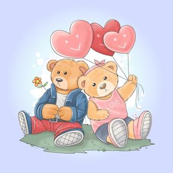 Teddybär trägt eine rockerjacke mit seiner freundin, die einen liebesherzballon trägt