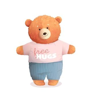 Teddybär umarmt niedliches weiches babykind, weiches braunes teddy-spielzeug