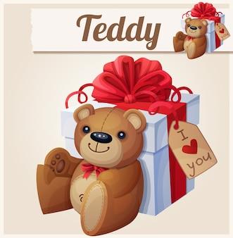 Teddybär und die große geschenkbox mit roter schleife
