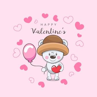 Teddybärcharakter mit rotem herzen und ballon des valentinsgrußes