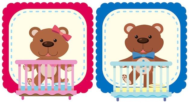 Teddybären in rosa und blau