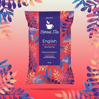 Tee-anzeige mit aquarelldekoration