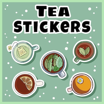 Tee-aufkleber-set. tassen grüner und kräutertee-etiketten-auflistung. handgezeichnete cartoon-tassen