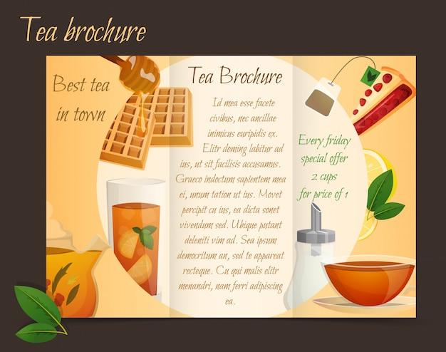 Tee-broschüre dreifach gefaltet