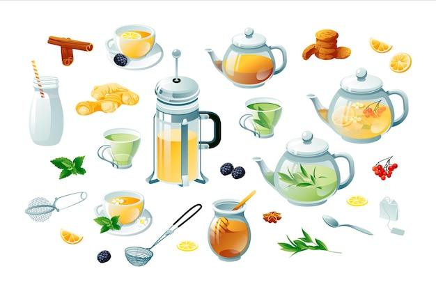 Tee gesetzt grün, kräuter. teekannen, tassen, teebeutel, sieb, kekse. objekte werden auf einem weißen hintergrund isoliert.