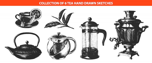 Tee-getränkesammlung mit graviertem stil