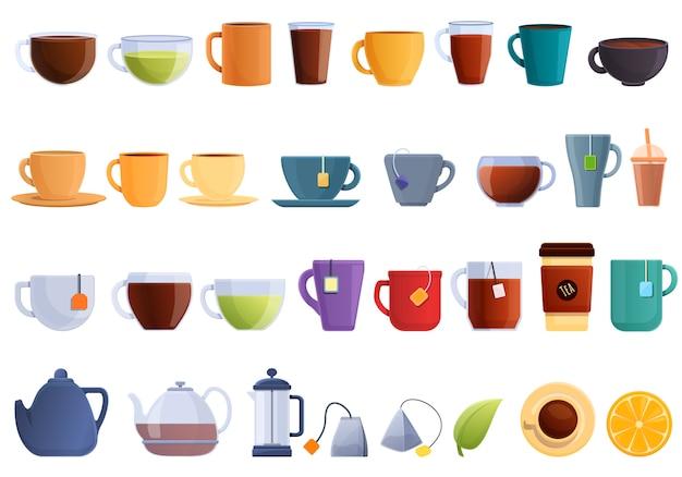 Tee-ikonen eingestellt. karikaturensatz der teevektorikonen