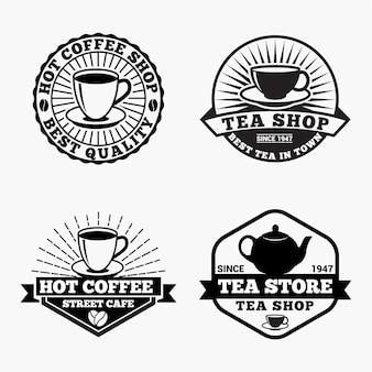 Tee kaffee logos abzeichen