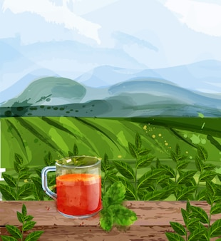 Tee landschaft aquarell