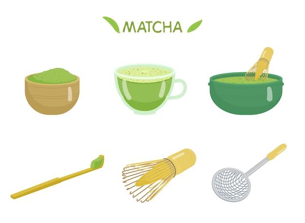 Tee matcha set. tasse mit matcha, teepulver, bambuslöffel, schneebesen, keramikschale, sieb. japanisches traditionelles getränk.