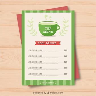 Tee-menü-vorlage mit getränken