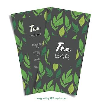 Tee-menü-vorlage mit pflanzen