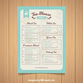 Tee-menü-vorlage mit verschiedenen arten von getränken