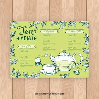 Tee-menü-vorlage mit verschiedenen geschmacksrichtungen