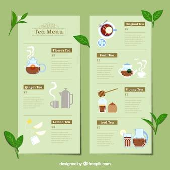 Tee-menü-vorlage mit verschiedenen getränken