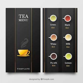 Tee menüvorlage in flachen stil