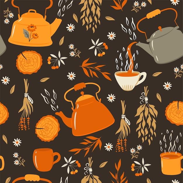 Tee nahtloses muster mit teekannen und bechern.