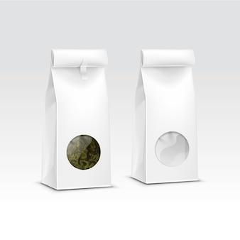 Tee-papier-verpackungspaket-packungsbeutel mit transparentem fenster isoliert