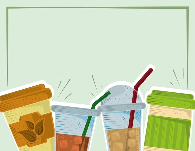 Tee plastik einwegbecher mit eis und stroh karte illustration