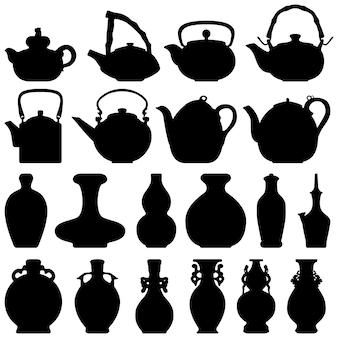 Tee teekanne weinflasche japanische chinesische orientalische silhouette.