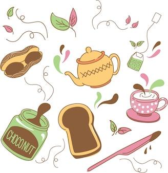 Tee und frühstück gekritzel