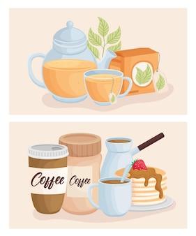 Tee und kaffee mit desserts