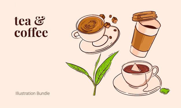 Tee und kaffee vintage kontur illustration bundle brauner zucker heißen kaffee teeblatt