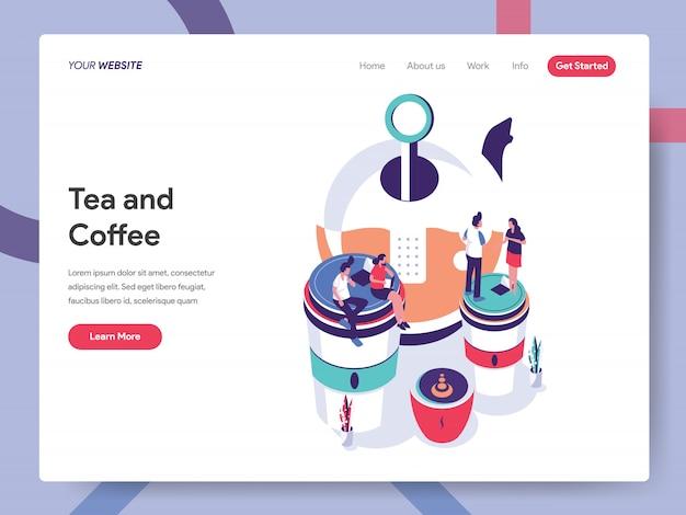 Tee- und kaffeebanner für website-seite