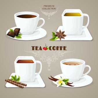 Tee- und kaffeetassen eingestellt