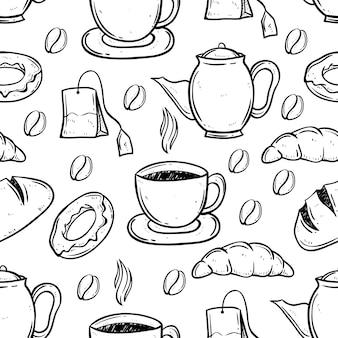 Tee- und kaffeezeit unter verwendung der gekritzelkunst im nahtlosen muster