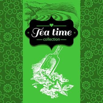 Tee-vintage-hintergrund. handgezeichnete skizze abbildung. menü- und packungsgestaltung