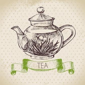 Tee-vintage-hintergrund. handgezeichnete skizze abbildung. menügestaltung