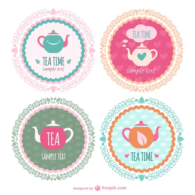 Tee-zeit-aufkleber-vorlagen