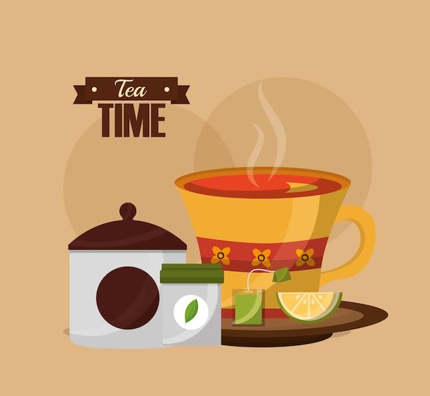 Tee zeit tasse zitrone und teebeutel dekoration blume