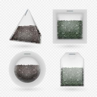 Teebeutel mit schwarz-grünem tee-set