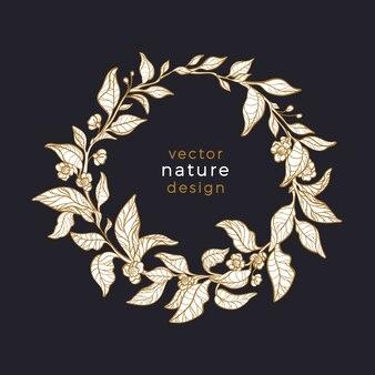 Teeblatt im kreis. naturkranz. luxus-kunstdesign. natürliches symbol, blumenkarte.