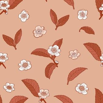 Teeblumen und -blätter im nahtlosen muster