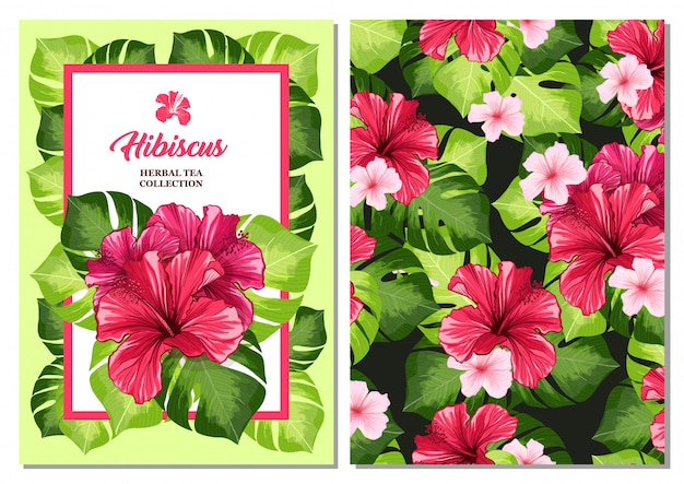 Teeflyer oder faltblattkarte mit hawaiianischer hibiskus-roter duftblume.
