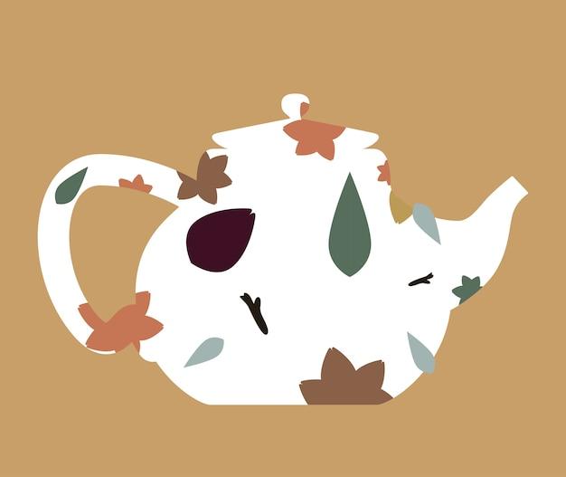 Teegestaltung über brauner hintergrundvektorillustration